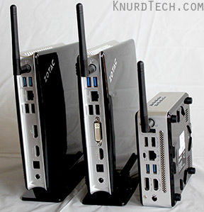 Three Zotac ZBOXs standing on ends